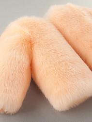 Недорогие -Дети Девочки Активный / Классический Повседневные Rabbit Однотонный Меховая оторочка Длинный рукав Короткая Искусственный мех Куртка / пальто Розовый