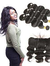 Недорогие -3 комплекта с закрытием Индийские волосы Естественные кудри 10A человеческие волосы Remy Накладки из натуральных волос Волосы Уток с закрытием 8-26 дюймовый Ткет человеческих волос 4X13 Закрытие