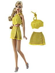 abordables -Robes et Jupes Jupe / Fronde 2 pcs Pour Poupée Barbie Jaune Etoffe non tissé / Tissu Denim Haut / Jupe Pour Fille de Jouets DIY