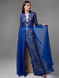 baratos -Tubinho Ilusão Decote Longo Chiffon / Renda Evento Formal Vestido com Apliques / Faixa / Fita de TS Couture®