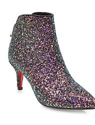 Недорогие -Жен. Fashion Boots Микроволокно / Полиуретан Осень Ботинки На шпильке Закрытый мыс Ботинки Белый / Черный / Розовый