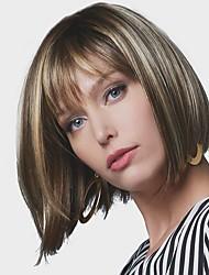 billige -Syntetiske parykker Lige Bob frisure Syntetisk hår 8 inch syntetisk Mørkebrun Guld Blonde Ombre Paryk Dame Kort Lågløs Beige