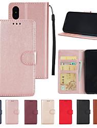 billiga -fodral Till Apple iPhone XS / iPhone XS Max Plånbok / Korthållare / med stativ Fodral Enfärgad Hårt PU läder för iPhone XS / iPhone XR / iPhone XS Max