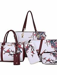 baratos -Mulheres Bolsas PU Conjuntos de saco 6 Pcs Purse Set Estampa Preto / Roxo / Vinho