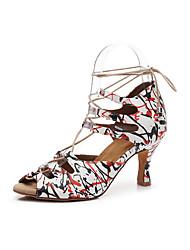 Недорогие -Жен. Обувь для латины Полиуретан Сандалии Лепестки Тонкий высокий каблук Персонализируемая Танцевальная обувь Красный / белым