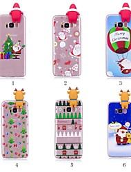 baratos -Capinha Para Samsung Galaxy S9 Plus / S8 Plus Estampada / Faça Você Mesmo Capa traseira Natal Macia TPU para S9 / S9 Plus / S8 Plus