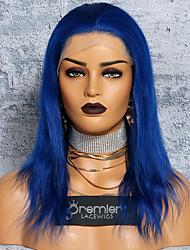 Недорогие -Не подвергавшиеся окрашиванию Полностью ленточные Парик Бразильские волосы Шелковисто-прямые Синий Парик Глубокое разделение С конским хвостом 150% Плотность волос с детскими волосами Sexy Lady