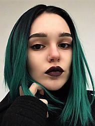 voordelige -Pruik Lace Front Synthetisch Haar KinkyRecht Groen Zijdeel Zwart / groen Synthetisch haar 12-14 inch(es) Dames met babyhaar / Cosplay / Feest Groen Pruik Gemiddelde Lengte Kanten Voorkant EEWigs