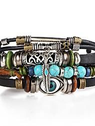 Недорогие -Муж. Плетение Кожаные браслеты - Глаза Художественный, Уникальный дизайн Браслеты Бижутерия Коричневый Назначение Для вечеринок Для улицы