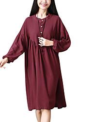 Недорогие -женский плюс размер хлопок свободный качели платье длиной до колен