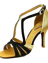 baratos -Mulheres Sapatos de Dança Latina Cetim Salto Salto Carretel Sapatos de Dança Rosa claro / Amêndoa / Nú / Espetáculo / Couro / Ensaio / Prática