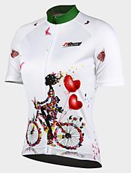 Недорогие -21Grams Жен. С короткими рукавами Велокофты - Белый Цветочные / ботанический Велоспорт Джерси Верхняя часть, Быстровысыхающий Ультрафиолетовая устойчивость Передняямолния, Весна Лето Осень, 100
