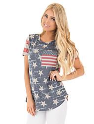 billige -Dame slank t-shirt - geometrisk rund hals
