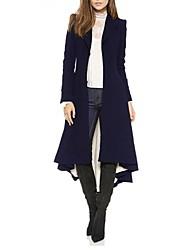 baratos -Mulheres Casaco Longo Moda de Rua / Sofisticado - Sólido