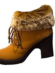 Недорогие -Жен. Армейские ботинки Замша Осень На каждый день Ботинки На толстом каблуке Круглый носок Сапоги до середины икры Черный / Коричневый / Для вечеринки / ужина