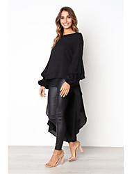 baratos -camisola longa solta de manga comprida para senhora - decote redondo em cor sólida