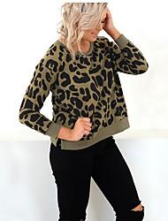 billige -Kvinder langærmet bomuldstrøje - leopard