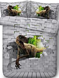 Недорогие -Пододеяльник наборы 3D Полиэстер Активный краситель 3 предметаBedding Sets / 3 шт. (1 пододеяльник, 2 наволочки)