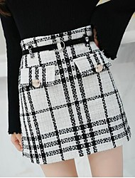 Недорогие -женские хлопчатобумажные мини-юбки - верхняя талия houndstooth