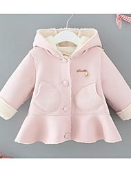 Недорогие -малыш Девочки Классический Повседневные Однотонный Длинный рукав Обычная Хлопок Куртка / пальто Синий