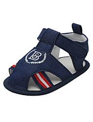 Недорогие -Мальчики Обувь Деним Лето Обувь для малышей Сандалии На липучках для Дети / Ребёнок до года Темно-синий / Коричневый / Светло-синий