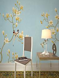Недорогие -обои / фреска холст Облицовка стен - Клей требуется Цветочный принт / Рисунок / 3D
