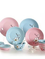 Недорогие -40 шт 16 шт Обеденные тарелки Столовые наборы Стеклянная посуда посуда Фарфор Керамика Творчество Милый Креатив
