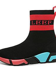 Недорогие -Жен. Tissage Volant Зима Ботинки На плоской подошве Круглый носок Сапоги до середины икры Черный
