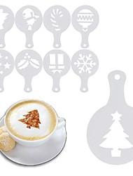 Недорогие -8pcs рождественский кофе трафарет капучино шоколадный печенье торты трафареты плесень