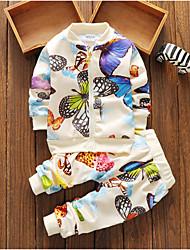 Недорогие -малыш Девочки Классический Повседневные Геометрический принт Длинный рукав Обычный Набор одежды Белый / Дети (1-4 лет)