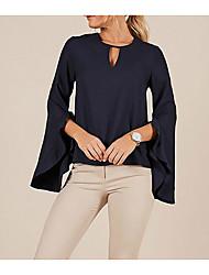Недорогие -женская тощая блузка - сплошная цветная шея