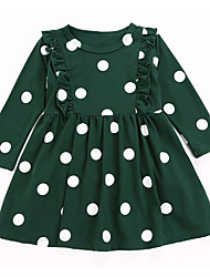 Недорогие -Дети Девочки Активный Рождество Горошек Длинный рукав Платье Зеленый