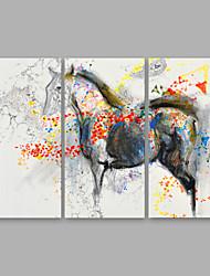 baratos -Pintura a Óleo Pintados à mão - Abstrato Modern Tela de pintura / 3 Painéis