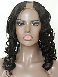 cheap -Virgin Human Hair Remy Human Hair U Part Wig Layered Haircut With Ponytail style Brazilian Hair Loose Curl Wig 130% Density Soft Natural Natural Hairline African American Wig 100% Virgin Natural