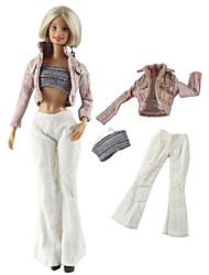 Недорогие -Аксессуары для кукол Кукольный наряд Кукольные штаны Повседневная Лолита Из двух частей Для Barbie Мода Розовый Нетканое полотно Ткань Хлопковая ткань Пальто / Кофты / Брюки Для Девичий игрушки куклы