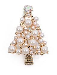 baratos -Mulheres Broches - Imitação de Pérola Árvore de Natal Estiloso, Clássico Broche Dourado Para Natal