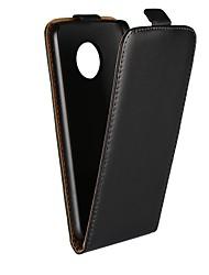Недорогие -Кейс для Назначение Motorola G5 Plus / G5 со стендом / Флип Чехол Однотонный Твердый Настоящая кожа для Moto X4 / Moto X Play / Moto X / Мото G5 Plus