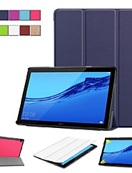 Недорогие -Кейс для Назначение Huawei Huawei Mediapad T5 10 / MediaPad T3 10(AGS-W09, AGS-L09, AGS-L03) со стендом / Флип / Оригами Чехол Однотонный Твердый Кожа PU для Huawei Mediapad T5 10 / Huawei MediaPad