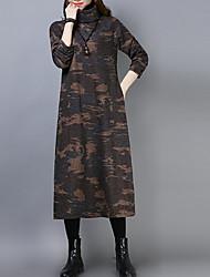 baratos -Mulheres Algodão Solto Calças Cintura Alta Verde / Gola Alta