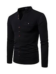 Недорогие -мужская футболка - сплошная цветная шея