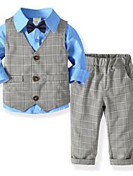 Недорогие -Дети Дети (1-4 лет) Мальчики Активный Классический Для вечеринок Повседневные Однотонный Полоски Длинный рукав Обычный Обычная Хлопок Набор одежды Синий