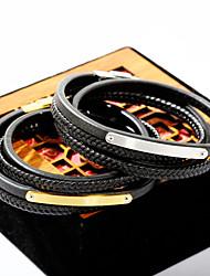 billiga -Herr Armband av Remmar Läder Armband - Läder Mode Armband Guld / Silver Till Dagligen Utekväll