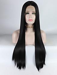 Недорогие -Синтетические кружевные передние парики Прямой Kardashian Стиль Средняя часть Лента спереди Парик Черный Черный Искусственные волосы 16-26 дюймовый Жен. Регулируется / Жаропрочная / Эластичный Черный