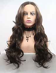cheap -Synthetic Lace Front Wig Body Wave Brown Layered Haircut Brown 130% Density Synthetic Hair 26 inch Women's Women Brown Wig Medium Length Lace Front Sylvia / Yes