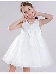 Недорогие -Принцесса Выше колена Детское праздничное платье - Хлопок Без рукавов V-образный вырез с Вышивка от LAN TING Express