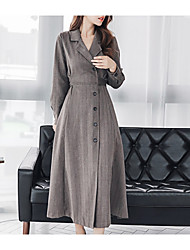 baratos -Mulheres Algodão Calças Cintura Alta Preto / Longo / Colarinho de Camisa / Feriado / Para Noite