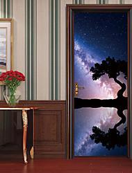 abordables -Autocollants de porte - Autocollants muraux 3D Paysage / A fleurs / Botanique Salle de séjour / Chambre à coucher