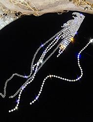 Недорогие -Жен. Длиные Теннисная цепь Непарные серьги Стразы Серебрянное покрытие Серьги Parrot Дамы европейский Бижутерия Серебряный Назначение Для улицы 1 пара