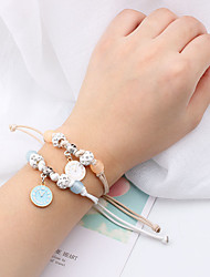 ราคาถูก -2pcs สำหรับผู้หญิง ถัก สร้อยข้อมือ Strand Pendant Bracelet - ง่าย, เกาหลี สร้อยข้อมือ เครื่องประดับ AB สีขาว สำหรับ เทศกาล
