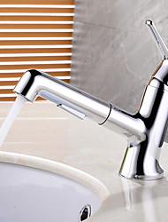 Недорогие -Ванная раковина кран - Широко распространенный / Новый дизайн Хром Настольная установка Одной ручкой одно отверстиеBath Taps